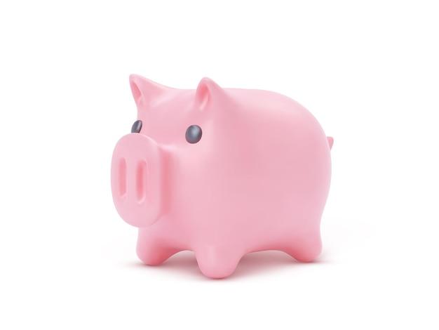 Porco cofrinho rosa realista isolado no fundo branco, ilustração