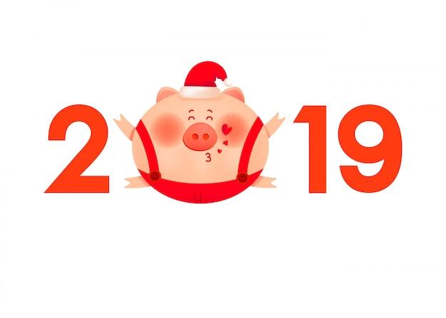 Porco cor-de-rosa gordo bonito em um chapéu vermelho do inverno