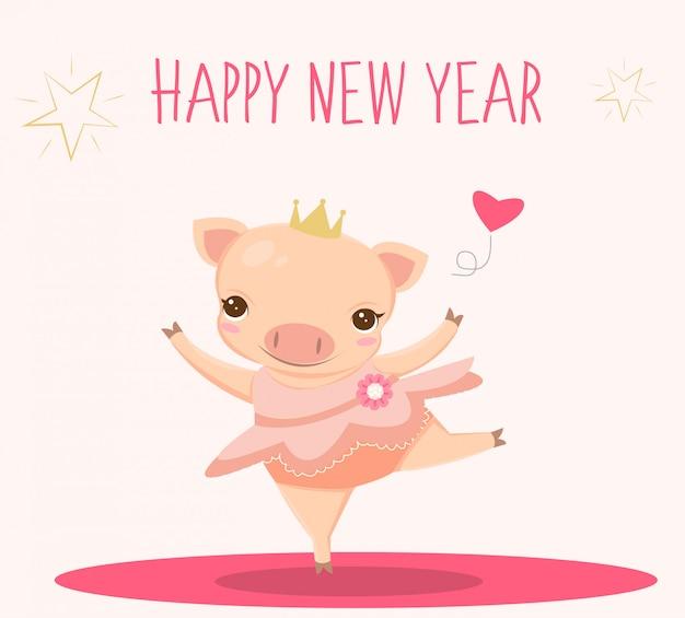Porco de bailarina para cartão de ano novo