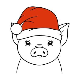 Porco de natal com chapéu de papai noel. retrato de porco. ilustração em vetor. isolado no fundo branco.