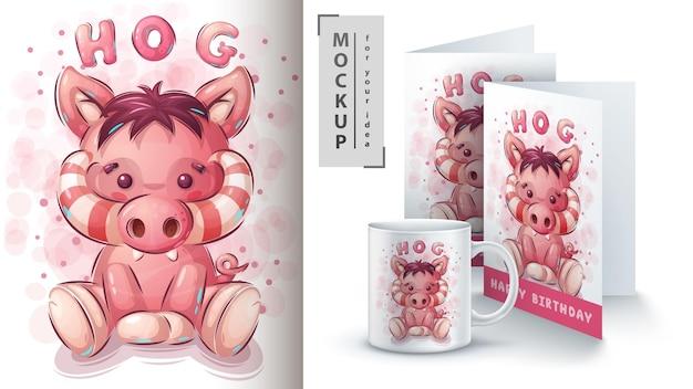 Porco de pelúcia - ilustração e merchandising