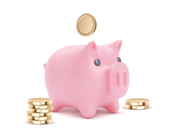 Porco do cofrinho rosa realista isolado no fundo branco. cofrinho com moedas, poupança financeira e economia bancária, investimento de depósito de longo prazo. ilustração