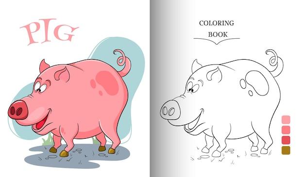 Porco engraçado do personagem animal na página do livro para colorir de estilo cartoon. ilustração infantil. ilustração vetorial.