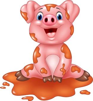 Porco engraçado dos desenhos animados, sentado na lama