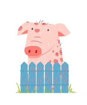 Porco engraçado dos desenhos animados, sentado sobre a cerca
