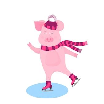 Porco engraçado em um chapéu com um pompon espesso e um cachecol patinando.