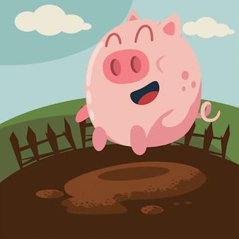 Porco engraçado que salta na ilustração da poça de lama.