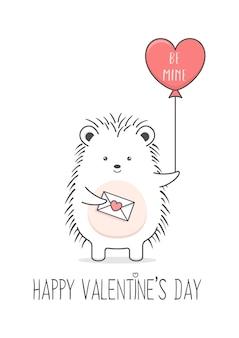 Porco-espinho fofo segurando uma carta de amor e um balão