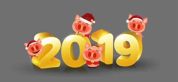 Porco feliz ano novo chinês 2019 isolado elementos