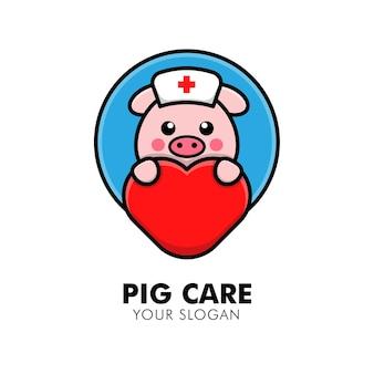 Porco fofo abraçando o logotipo de cuidados cardíacos ilustração de design de logotipo animal