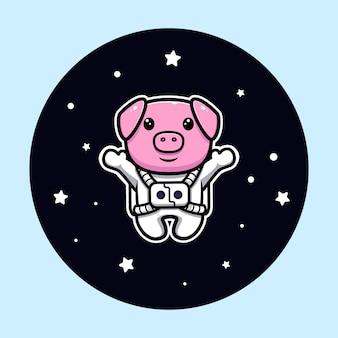 Porco fofo astronauta flutuando no mascote do espaço