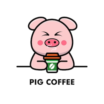 Porco fofo beber xícara de café desenho animado logotipo animal ilustração de café