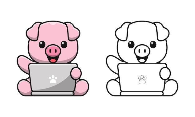 Porco fofo brincando de colorir desenhos animados de laptop para crianças