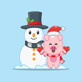 Porco fofo com boneco de neve no dia de natal ilustração fofa dos desenhos animados de natal