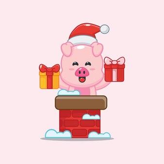 Porco fofo com chapéu de papai noel fora da chaminé ilustração fofa dos desenhos animados de natal