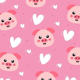 Porco fofo com coração padrão sem emenda