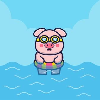 Porco fofo com ilustração de desenho animado de anel de natação