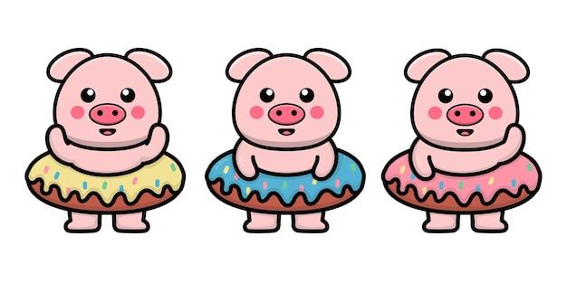 Porco fofo com ilustração de desenho animado de donut