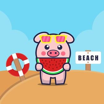 Porco fofo comendo melancia na praia ilustração dos desenhos animados