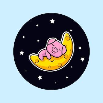 Porco fofo dormindo na lua, personagem mascote