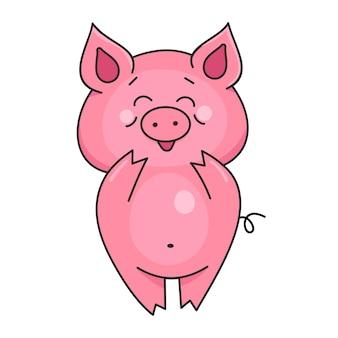 Porco fofo e sorridente. animais de fazenda. ilustração vetorial no estilo cartoon, isolado no fundo branco