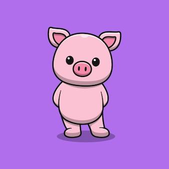 Porco fofo em pé, ilustração dos desenhos animados