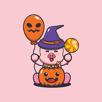 Porco fofo felicidade no dia do dia das bruxas. ilustração fofa dos desenhos animados do dia das bruxas