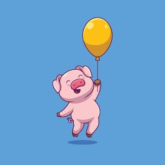 Porco fofo flutuando com ilustração de balão