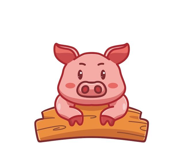 Porco fofo na prancha de madeira conceito de natureza animal ilustração isolada plano estilo adequado