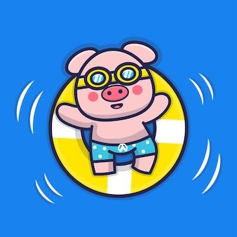 Porco fofo nadando com ilustração de anel de natação