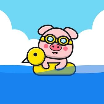 Porco fofo nadando com ilustração dos desenhos animados do anel de natação
