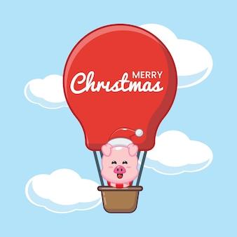 Porco fofo no dia de natal voe com balão de ar ilustração fofa dos desenhos animados de natal