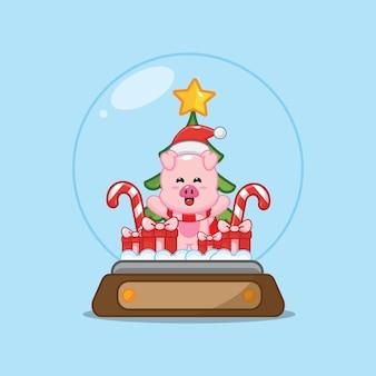 Porco fofo no globo de neve ilustração fofa dos desenhos animados de natal