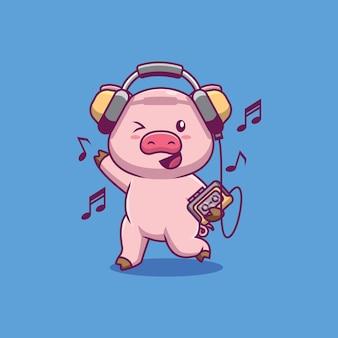 Porco fofo ouvindo música cartoon ilustração
