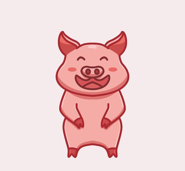 Porco fofo rindo conceito de natureza animal dos desenhos animados ilustração isolada estilo simples