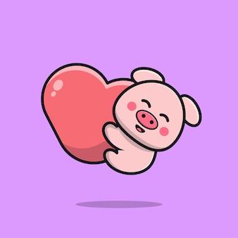 Porco fofo segurando uma ilustração do ícone de desenho em forma de coração