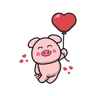 Porco fofo segurando uma ilustração do ícone do balão do amor