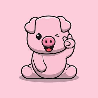 Porco fofo sentado com uma ilustração de dois dedos