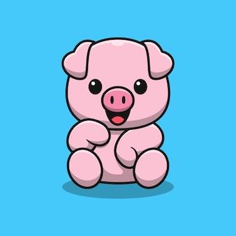 Porco fofo sentado, desenho animado