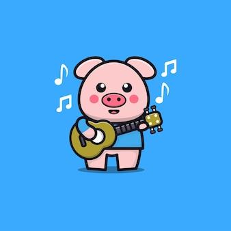 Porco fofo tocar guitarra ilustração dos desenhos animados