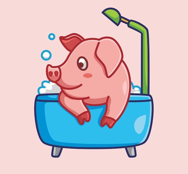 Porco fofo tomar banho em uma banheira conceito de natureza animal dos desenhos animados ilustração isolada estilo simples