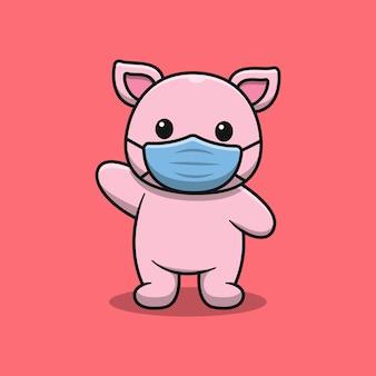 Porco fofo usando máscara de desenho animado