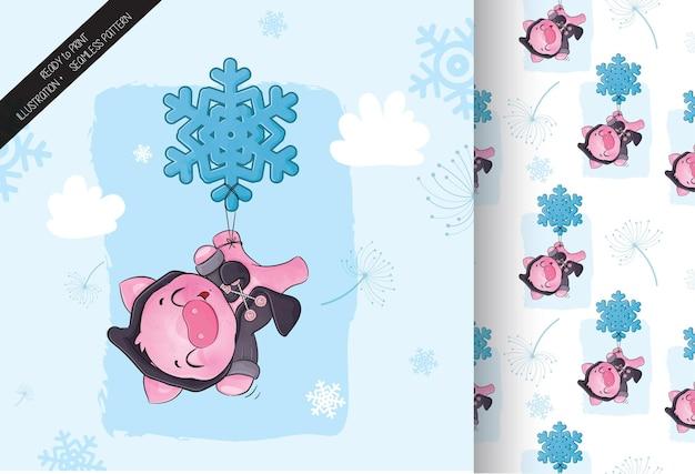 Porco fofo voando com ilustração de floco de neve de fundo