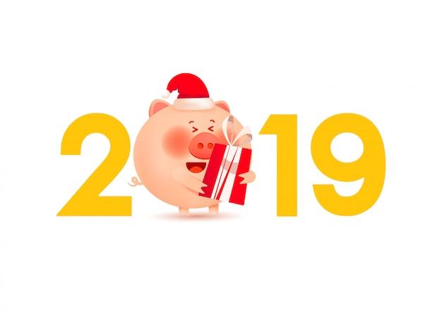 Porco gordo bonito em um chapéu de inverno vermelho com um presente