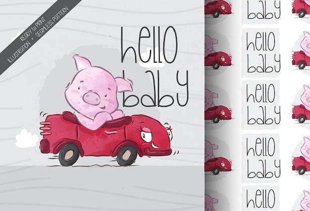 Porco legal bonito no padrão sem emenda de carro vermelho