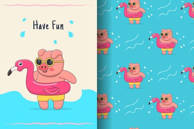 Porco nadador fofo com ilustração e padrão de borracha de flamingo
