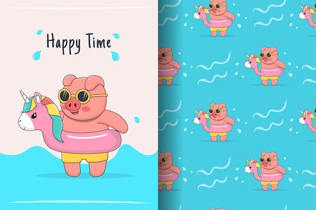 Porco nadador fofo com ilustração e padrão sem emenda de borracha de unicórnio