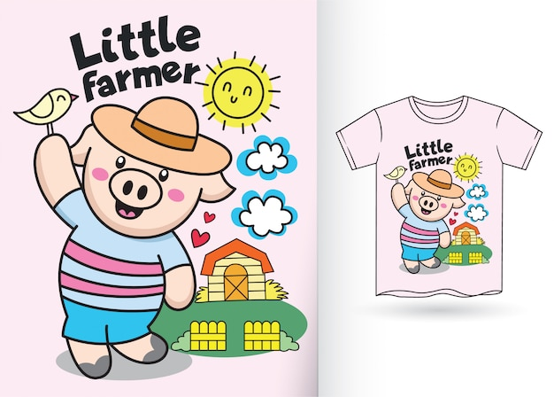Porco pequeno dos desenhos animados para a camisa de t