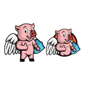 Porco super-herói com asas e escudo na mão, fazendo os polegares para cima o logotipo do personagem do mascote.