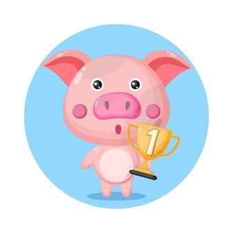 Porco troféu personagem fofa logo